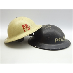Two WW2 tin helmets 'Police' and 'Fire Brigade Terry', both with liners