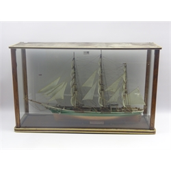 Model of the three masted clipper ship 'Thermopylae' with green and gold painted hull, full rigging and deck fittings L90cm in glazed display case