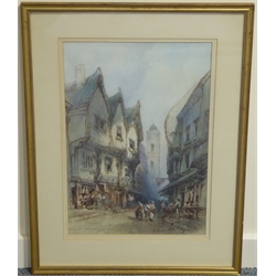 Paul Marny (French/British 1829-1914): 'Shambles York', - St Crux Tower, York, watercolour signed and titled 47cm x 32.5cm