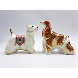 Royal Crown Derby 'American Spaniel' paperweight and another 'West Highland Terrier' both boxed and with gold stoppers