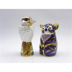 Royal Crown Derby 'Kookaburra' paperweight and another 'Koala' both boxed and with gold stoppers