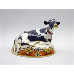 Royal Crown Derby paperweight Friesian Cow - Buttercup' boxed and with gold stopper
