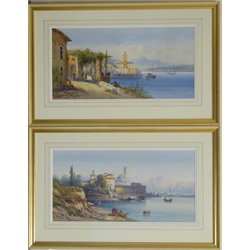 Frank Catano (Italian fl. 1880-1920): Continental Town by a Lake, two watercolours signed 29.5cm x 29 (2)