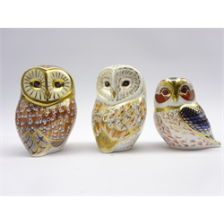 Three Royal Crown Derby paperweights 'Tawny Owl', 'Barn Owl' and 'Winter Owl' all boxed and with gold stoppers