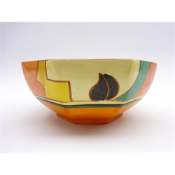 Wilkinson Fantasque Clarice Cliff octagonal bowl painted with stylised Feather and Leaves pattern D18cm