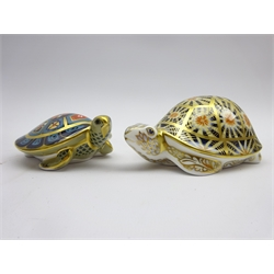 Royal Crown Derby paperweight 'Indian Star Tortoise' and another 'Terrapin' both boxed and with gold stoppers