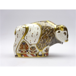 Royal Crown Derby limited edition paperweight 'North American Bison'  boxed and with gold stopper, pre release edition No307/750 with certificate