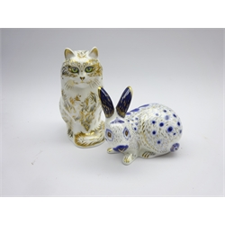 Two Royal Crown Derby paperweights 'Fifi the cat' and Blue English Rabbit' both boxed and with gold stoppers