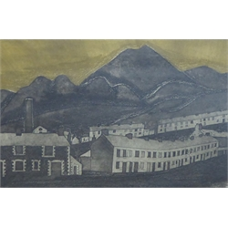 George Chapman (British 1908-1993): South Wales Valleys, etching signed in pencil 29cm x 34.5cm
