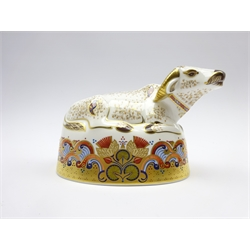 Royal Crown Derby 'Water Buffalo' paperweight, boxed and with gold stopper