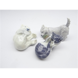 Royal Copenhagen figure of a dog with a slipper No 3476, another of a polar bear cub No 729 and another of a kitten No 727