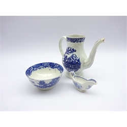 Liverpool blue and white pearlware sugar bowl D11cm , miniature blue and white sauce boat and a blue and white coffee pot H15cm all circa 1800