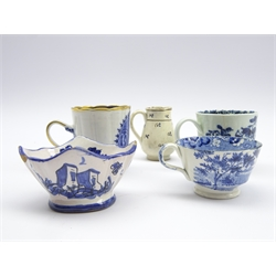 Early 19th Century miniature blue and white cup, possibly Spode H4cm, miniature earthenware jug c1800 H5.5cm 19th Century earthenware salt, Chinese cup and a blue and white cup, possibly Liverpool