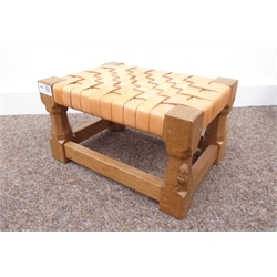 'Mouseman' Yorkshire oak stool by Robert Thompson of Kilburn,  with woven leather top, turned supports united by stretchers, carved with mouse signature, 35cm x 25cm, H20cm