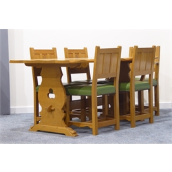 Briar Rose Yorkshire oak dining suite comprising refectory style table, serpentine chamfered top, shaped supports connected by pegged stretcher, sledge feet, (153cm x 84cm, H75cm) five (4+1) chairs with panel backs, leather upholstered seats, reeded square supports, (W62cm max)