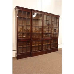 Early 20th century Georgian revival stained pine break front bookcase, projecting cornice over eight glazed doors, enclosing twelve shelves, W265cm, H226cm, D36cm