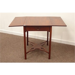 George III mahogany Pembroke table, rectangular top above drawer to one end, shaped and chamfered supports united by pierced 'X' undertier, 106 x 73cm, H73cm (Max)