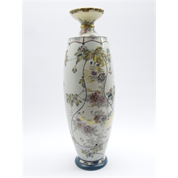 20th Century Oriental oviform vase with panels of flowers on a pale blue ground H55cm