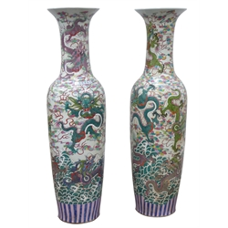 Large pair 20th century Cantonese floor vases, flared rim and tapering cylindrical form, decorated with dragons, H142cm