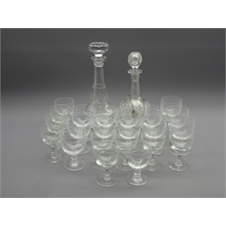 Fine cut glass decanter with silver 'Port' label, set twelve etched wine glasses, ten small etched wine glasses and a cut glass decanter