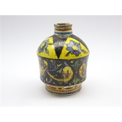 Italian Maiolica shouldered vase decorated with flower heads, masks and scrolls in yellow, blue, green etc with painted mark to base H15cm