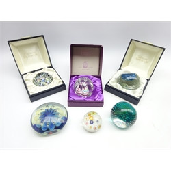 Caithness glass paperweight 'First Quarter' 298/1500, boxed, 2 other Caithness paperweights, Eickholt weight, Murano millefiori weight and another millefiori paperweight (6)
