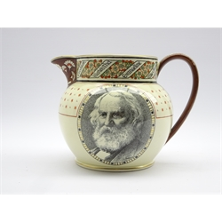 19th century Wedgwood creamware Longfellow commemorative jug, transfer printed with a portrait to the front, lines from the poem Keramos verso and book titles around the rim, marked to the base 'Manufactured by Josiah Wedgwood & Sons Etruria for Richard Briggs Boston' H16cm