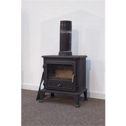 Firefox 8 clean burn multi-fuel stove, complete with flue, chimney plate and instruction book, W55cm, H65cm, D36cm