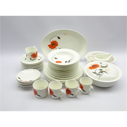 Wedgwood Susie Cooper design dinner service in the Cornpoppy pattern including plates in various sizes, vegetable dish and cover, dessert bowls etc 47 pieces