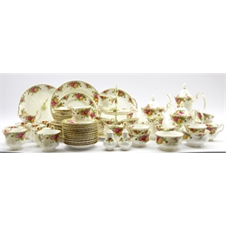 Royal Albert Old Country Roses pattern tea and coffee sets comprising 10 tea cups, 12 saucers, 12 tea plates, 2 teapots, milk jug, sugar bowl, 2 cake stands, 6 coffee cups and saucers, coffee pot, cream jug and sugar bowl, cake plates and other items 63 pieces