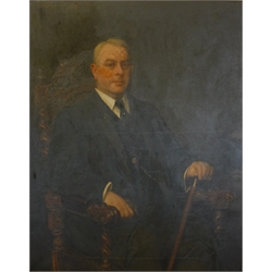 Frank Markham Skipworth (British 1854-1929): Large Portrait of a Seated Gentleman, oil on canvas signed and dated 1903, in heavily carved gilt frame 126cm x 100cm