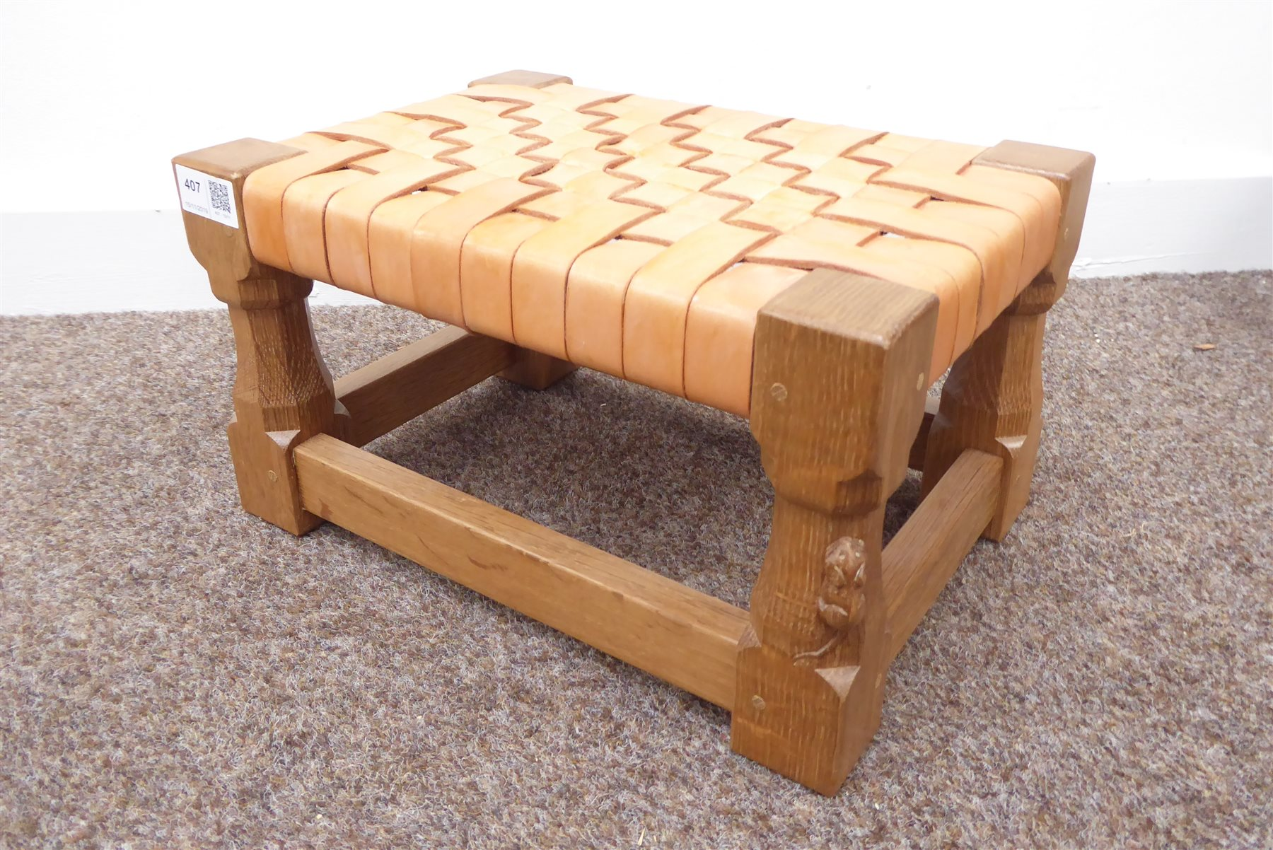 Incredible Mouseman Yorkshire Oak Stool By Robert Thompson Of Kilburn Machost Co Dining Chair Design Ideas Machostcouk