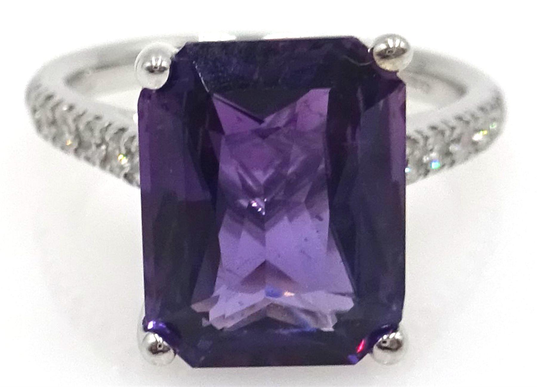 18ct white gold emerald cut purple sapphire ring, diamond