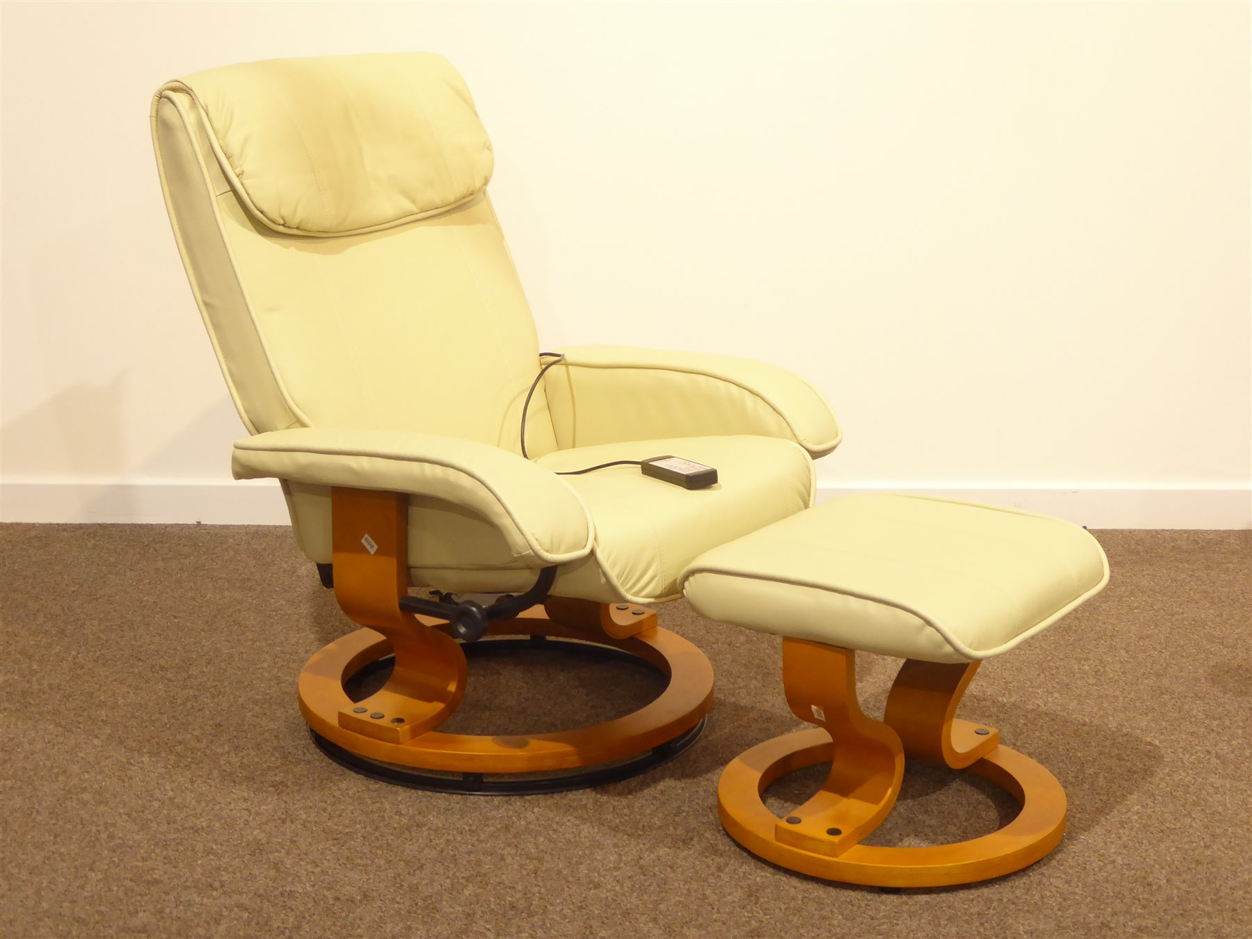 Scotts And Co Reclining Armchair With Massage Unit And Matching Stool Upholstered In Cream Leather Antiques Fine Art Jewellery Interiors