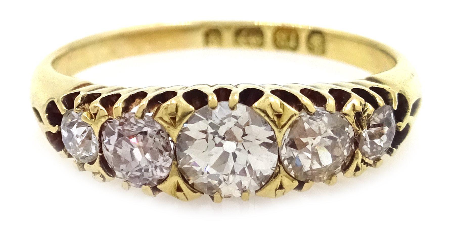 Victorian 18ct Gold Five Stone Diamond Ring Birmingham 1890
