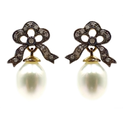 Pair of pearl and diamond pendant bow earrings