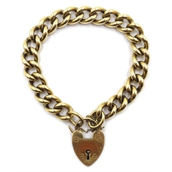 9ct gold curb chain bracelet with heart lock, hallmarked, approx 61.1gm