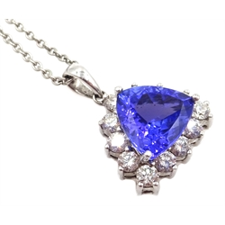 18ct white gold tanzanite and diamond cluster pendant, stamped 750 on platinum chain necklace, stamped 950, tanzanite 2.5 carat, diamonds approx 0.6 carat