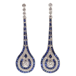 Pair of Art Deco style sapphire and diamond pendant earrings, diamonds approx 1.4 carat, sapphires approx 2.9 carat