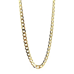 9ct gold flattened curb link chain necklace, hallmarked, approx 32.3gm