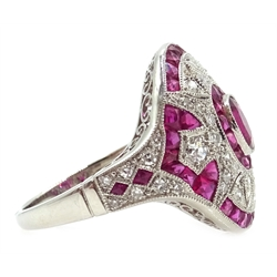Platinum (tested) oval and calibre cut ruby and diamond dress ring