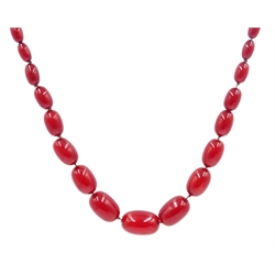 Effra Light; Cherry amber bead graduating bead necklace, approx 108gm, length = 97cm