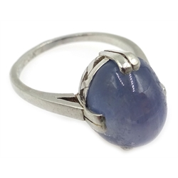 18ct white gold cabochon star sapphire stone set ring, stamped 750, inscribed '25-10-38'