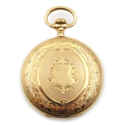 Early 20th century 14ct gold Systeme Glashfull hunter pocket watch, top wind, engine turned and engraved decoration, stamped 14K, retailed by Julius Liebewein, Germany in original box