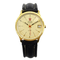 Omega 18ct gold electronic chronometer f300 quartz wristwatch ref 198003 movement 32004956, with date aperture, hallmarked, on leather strap