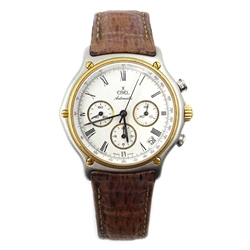 Ebel automatic chronograph gold and stainless steel wristwatch ref 1134901 no 64600622 on original leather folding clasp leather strap