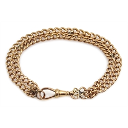 Victorian two row tapering curb chain bracelet with clip, each link stamped 9 375, approx 18.3gm