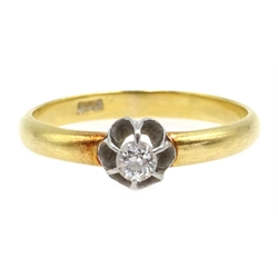 Gold single stone diamond ring, stamped 18ct