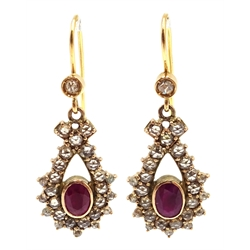 Pair of rose cut diamond and ruby pendant earrings, the hook stamped 18kt