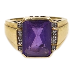 9ct gold amethyst and diamond ring, hallmarked